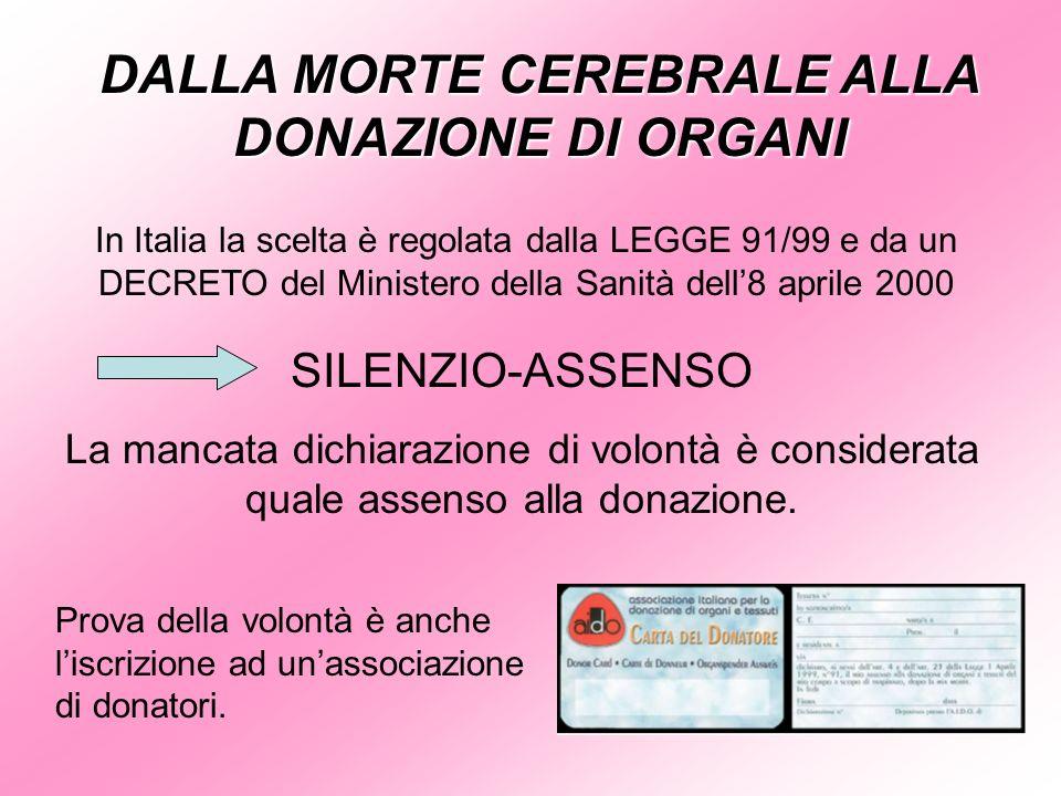 DALLA MORTE CEREBRALE ALLA DONAZIONE DI ORGANI In Italia la scelta è regolata dalla LEGGE 91/99 e da un DECRETO del Ministero della Sanità dell8 april