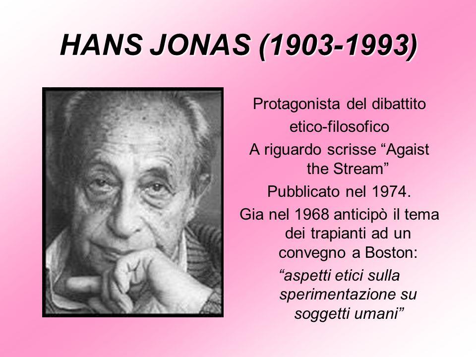 HANS JONAS (1903-1993) Protagonista del dibattito etico-filosofico A riguardo scrisse Agaist the Stream Pubblicato nel 1974. Gia nel 1968 anticipò il