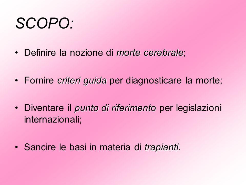 SCOPO: morte cerebraleDefinire la nozione di morte cerebrale; criteri guidaFornire criteri guida per diagnosticare la morte; punto di riferimentoDiven