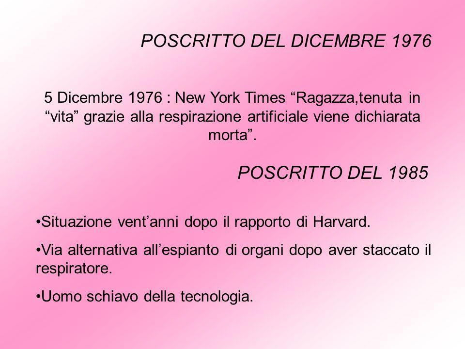 POSCRITTO DEL DICEMBRE 1976 5 Dicembre 1976 : New York Times Ragazza,tenuta in vita grazie alla respirazione artificiale viene dichiarata morta. POSCR