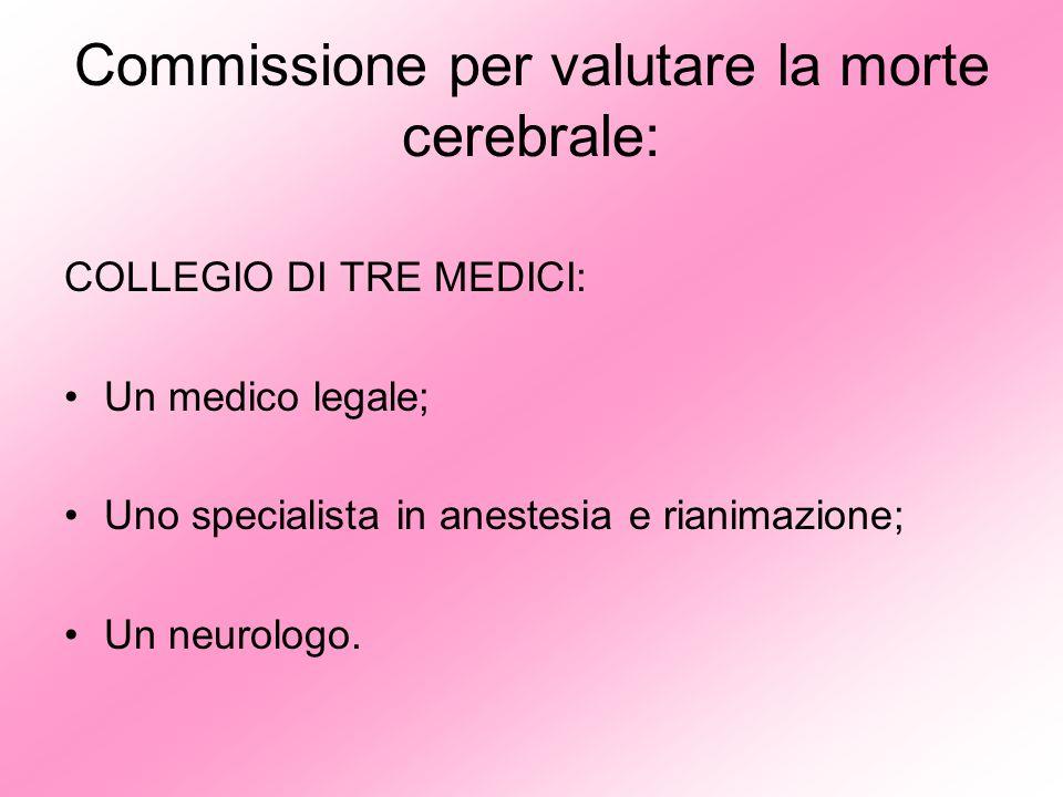 Commissione per valutare la morte cerebrale: COLLEGIO DI TRE MEDICI: Un medico legale; Uno specialista in anestesia e rianimazione; Un neurologo.