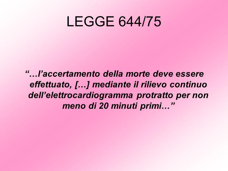 LEGGE 644/75 …laccertamento della morte deve essere effettuato, […] mediante il rilievo continuo dellelettrocardiogramma protratto per non meno di 20