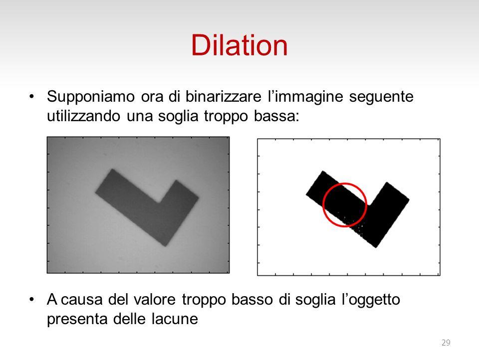 Dilation Supponiamo ora di binarizzare limmagine seguente utilizzando una soglia troppo bassa: A causa del valore troppo basso di soglia loggetto presenta delle lacune 29