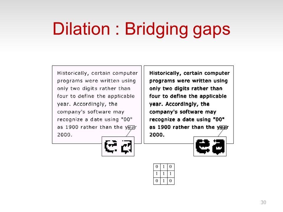 Dilation : Bridging gaps 30