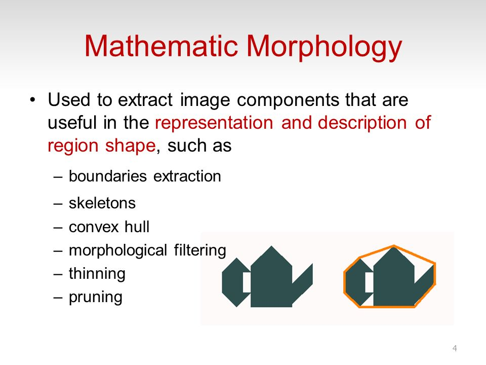 Mathematic Morphology Used to extract image components that are useful in the representation and description of region shape, such as –boundaries extr