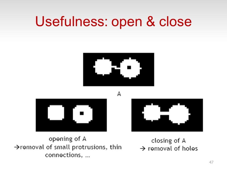 Usefulness: open & close 47