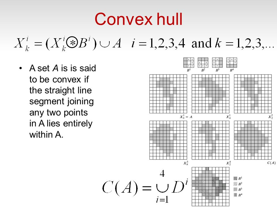 Convex hull A set A is is said to be convex if the straight line segment joining any two points in A lies entirely within A. 60
