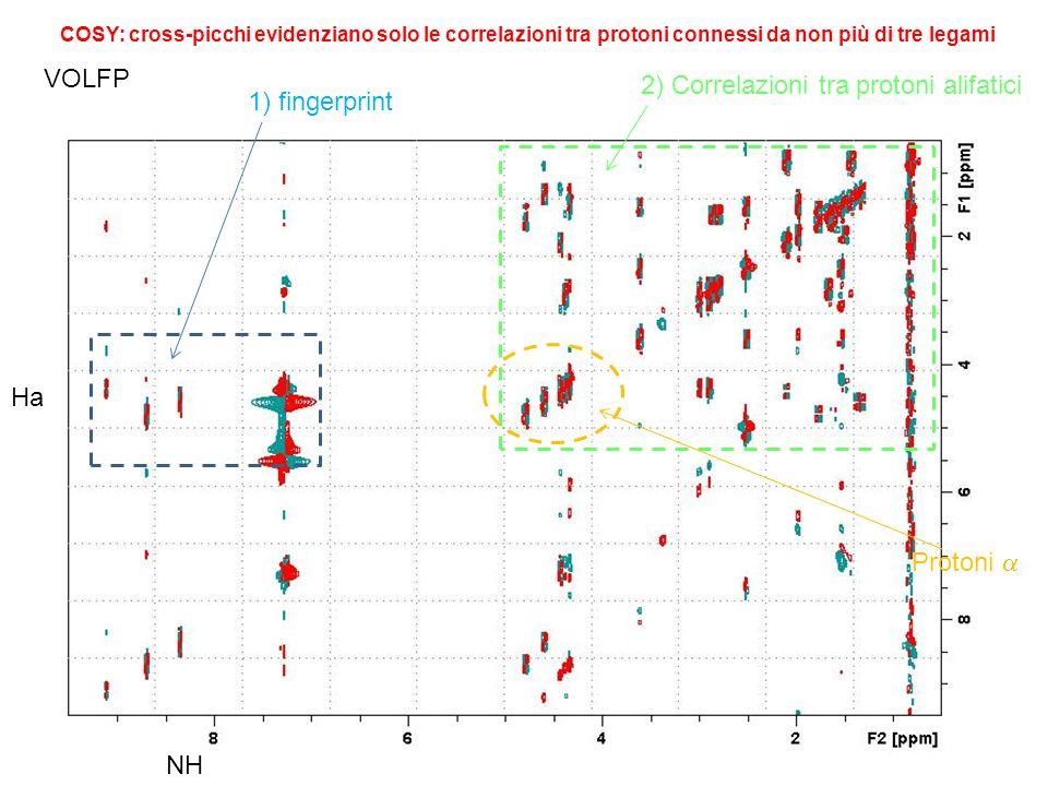 1) fingerprint NH Ha 2) Correlazioni tra protoni alifatici COSY: cross-picchi evidenziano solo le correlazioni tra protoni connessi da non più di tre