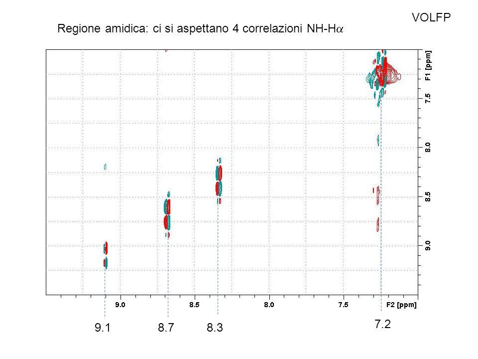 VOLFP Regione amidica: ci si aspettano 4 correlazioni NH-H 9.18.78.3 7.2