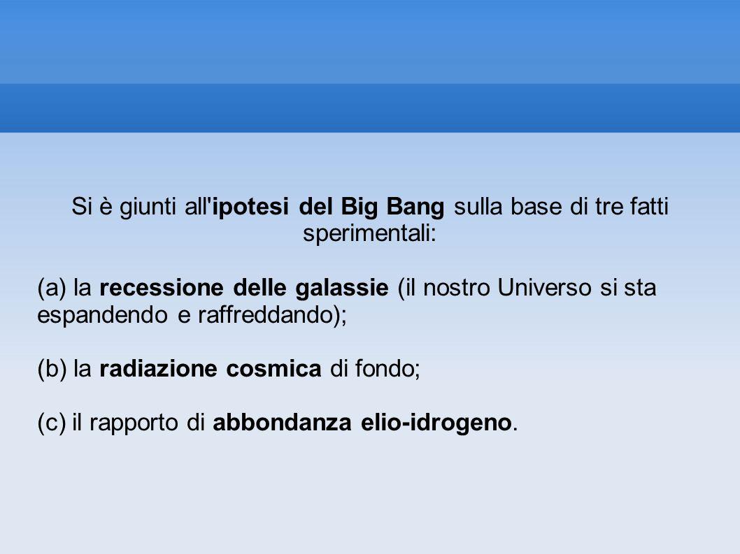 Si è giunti all'ipotesi del Big Bang sulla base di tre fatti sperimentali: (a) la recessione delle galassie (il nostro Universo si sta espandendo e ra