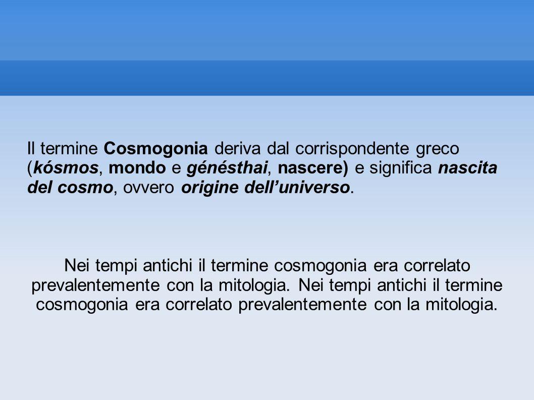 Il termine Cosmogonia deriva dal corrispondente greco (kósmos, mondo e génésthai, nascere) e significa nascita del cosmo, ovvero origine delluniverso.