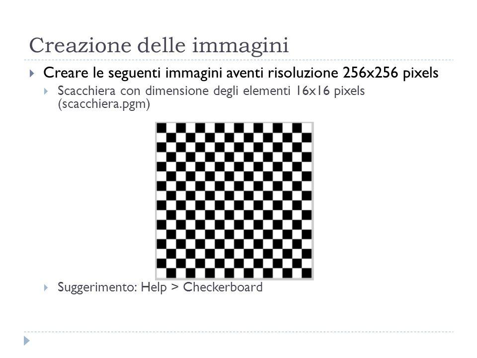 Creazione delle immagini Creare le seguenti immagini aventi risoluzione 256x256 pixels Scacchiera con dimensione degli elementi 16x16 pixels (scacchie