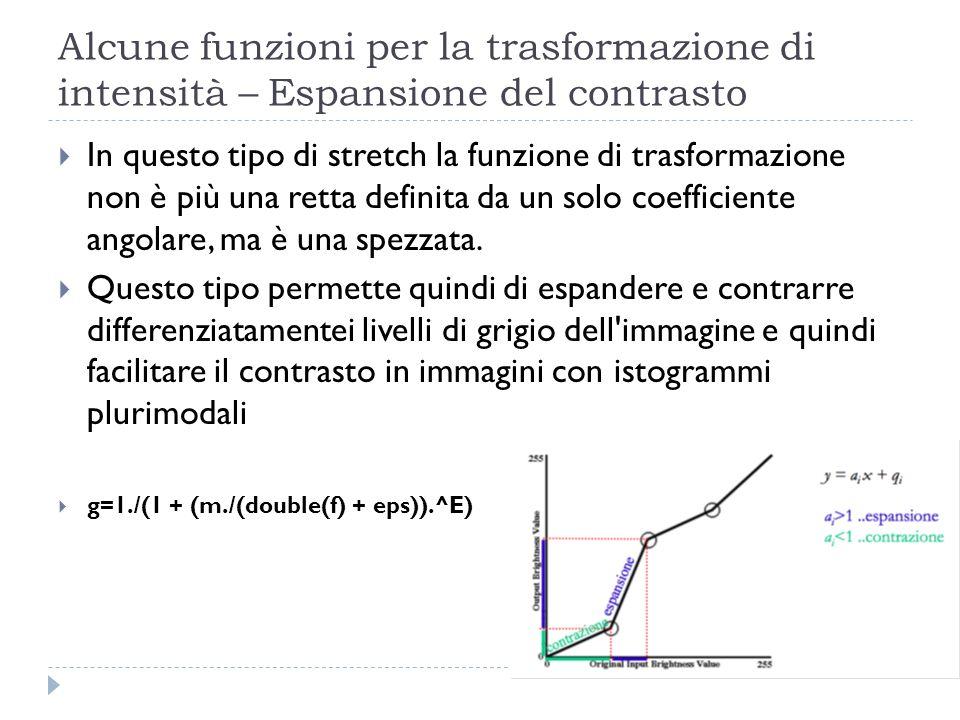 In questo tipo di stretch la funzione di trasformazione non è più una retta definita da un solo coefficiente angolare, ma è una spezzata. Questo tipo
