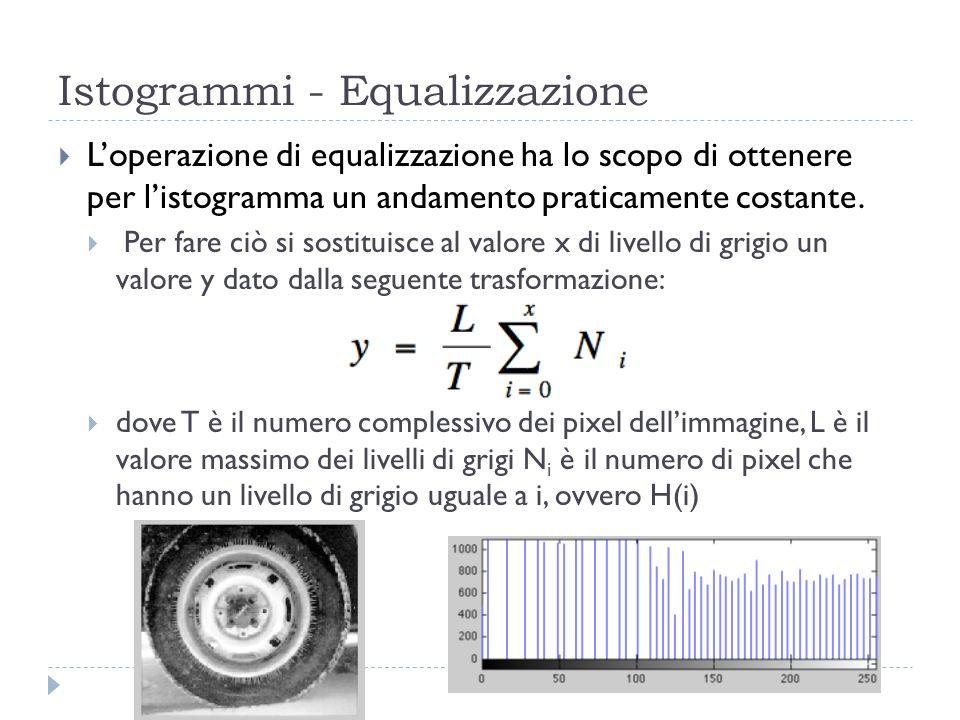 Istogrammi - Equalizzazione Loperazione di equalizzazione ha lo scopo di ottenere per listogramma un andamento praticamente costante. Per fare ciò si