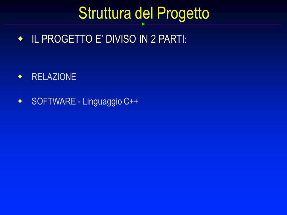 Struttura del Progetto IL PROGETTO E DIVISO IN 2 PARTI IL PROGETTO E DIVISO IN 2 PARTI : RELAZIONE SOFTWARE - Linguaggio C++