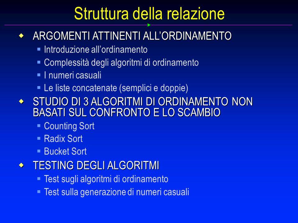 Struttura della relazione ARGOMENTI ATTINENTI ALLORDINAMENTO ARGOMENTI ATTINENTI ALLORDINAMENTO Introduzione allordinamento Complessità degli algoritm