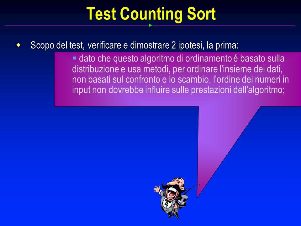 Scopo del test, verificare e dimostrare 2 ipotesi, la prima: Scopo del test, verificare e dimostrare 2 ipotesi, la prima: dato che questo algoritmo di ordinamento é basato sulla distribuzione e usa metodi, per ordinare l insieme dei dati, non basati sul confronto e lo scambio, l ordine dei numeri in input non dovrebbe influire sulle prestazioni dell algoritmo;