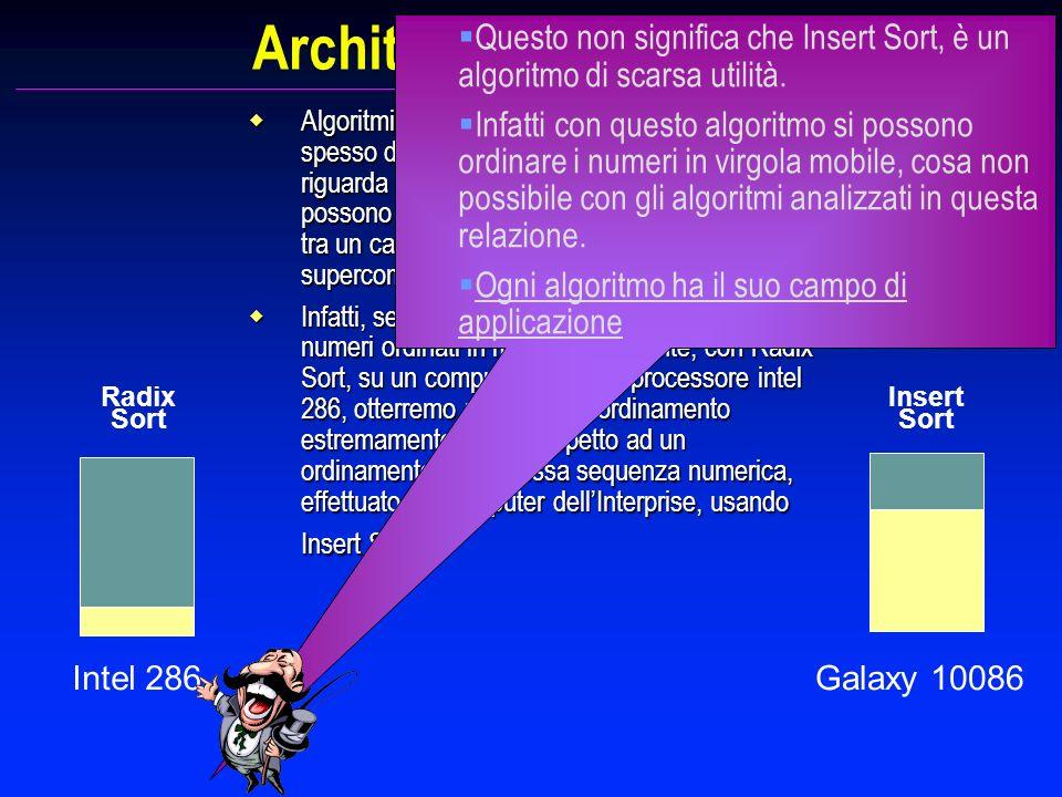 Architetture e algoritmi Intel 286 Radix Sort Insert Sort Algoritmi ideati per risolvere lo stesso problema, spesso differiscono vistosamente per quan