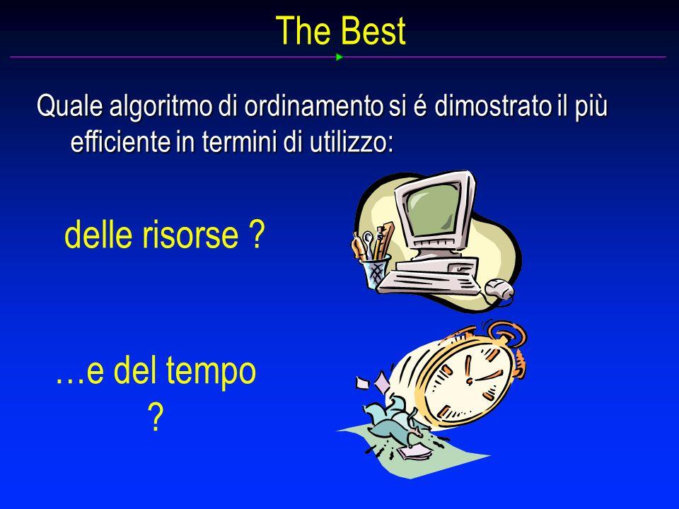 The Best Quale algoritmo di ordinamento si é dimostrato il più efficiente in termini di utilizzo: delle risorse .