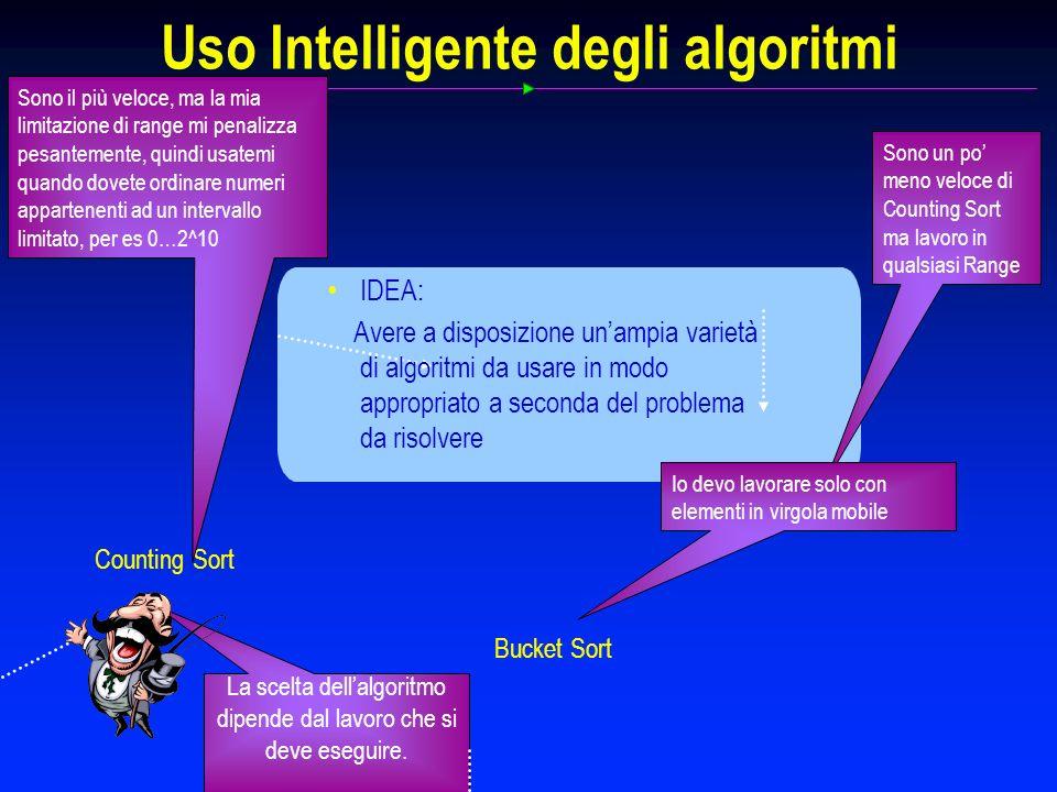 Uso Intelligente degli algoritmi Counting Sort La scelta dellalgoritmo dipende dal lavoro che si deve eseguire. Sono il più veloce, ma la mia limitazi