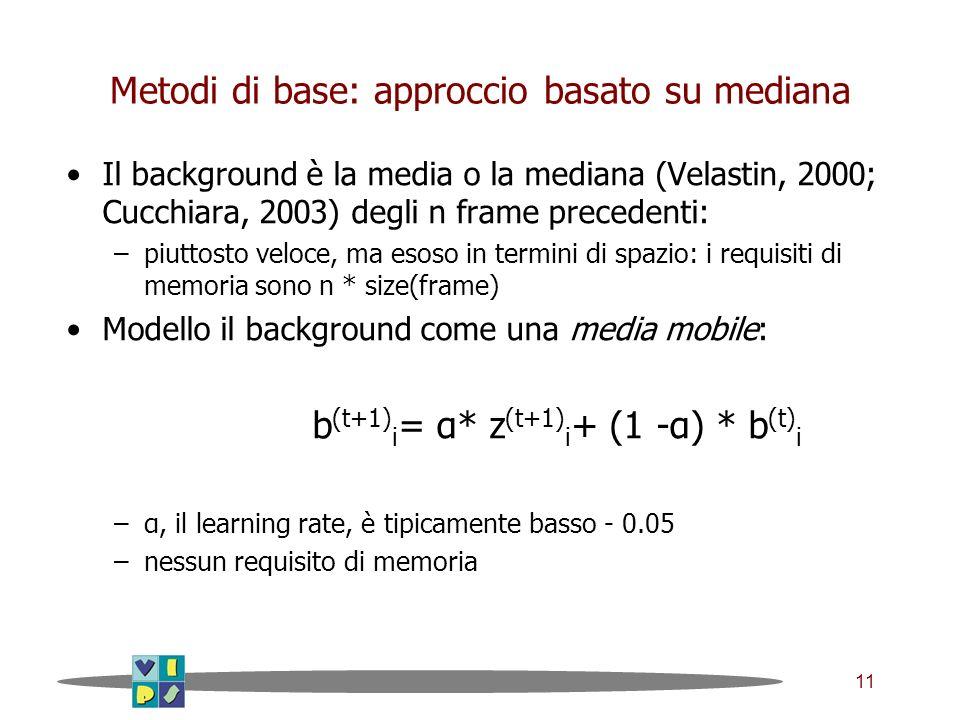 11 Metodi di base: approccio basato su mediana Il background è la media o la mediana (Velastin, 2000; Cucchiara, 2003) degli n frame precedenti: –piuttosto veloce, ma esoso in termini di spazio: i requisiti di memoria sono n * size(frame) Modello il background come una media mobile: b (t+1) i = α* z (t+1) i + (1 -α) * b (t) i –α, il learning rate, è tipicamente basso - 0.05 –nessun requisito di memoria