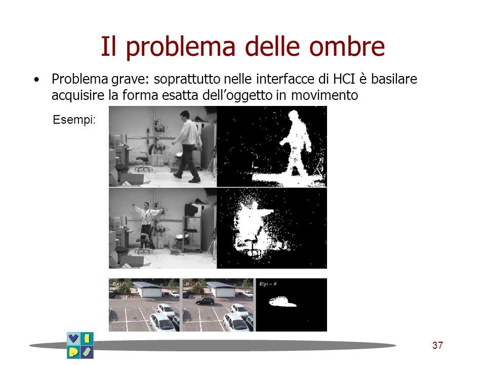 37 Il problema delle ombre Problema grave: soprattutto nelle interfacce di HCI è basilare acquisire la forma esatta delloggetto in movimento Esempi: