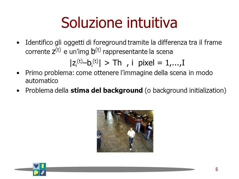 5 Soluzione intuitiva Identifico gli oggetti di foreground tramite la differenza tra il frame corrente z (t) e unimg b (t) rappresentante la scena |z i (t) –b i (t) | > Th, i pixel = 1,...,I Primo problema: come ottenere limmagine della scena in modo automatico Problema della stima del background (o background initialization)