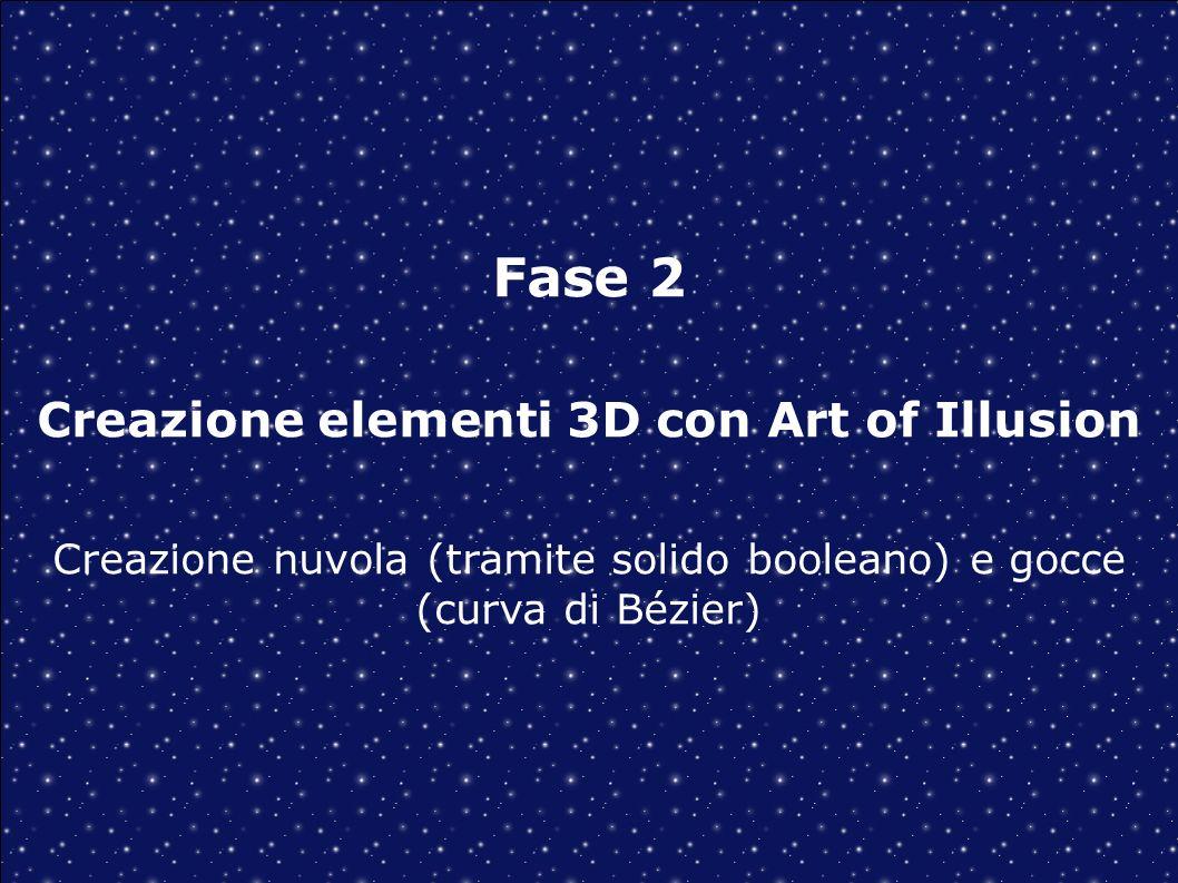 Fase 2 Creazione elementi 3D con Art of Illusion Creazione nuvola (tramite solido booleano) e gocce (curva di Bézier)