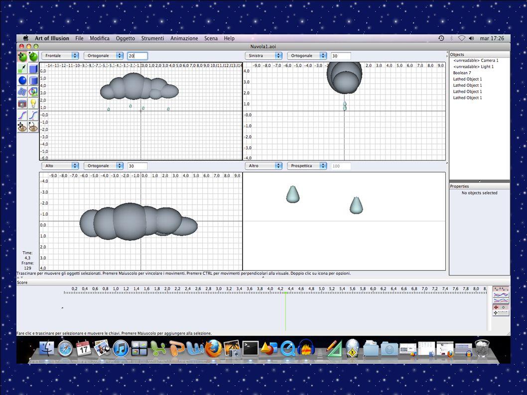 Fase 3 Animazione oggetti 3D con Art of Illusion Realizzazione di tre video: 1) Movimento di ingresso della nuvola nell inquadratura e animazione delle prime quattro gocce che scendono dalla nuvola.
