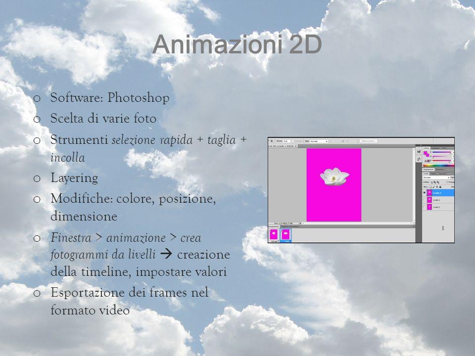 Animazioni 2D o Software: Photoshop o Scelta di varie foto o Strumenti selezione rapida + taglia + incolla o Layering o Modifiche: colore, posizione,