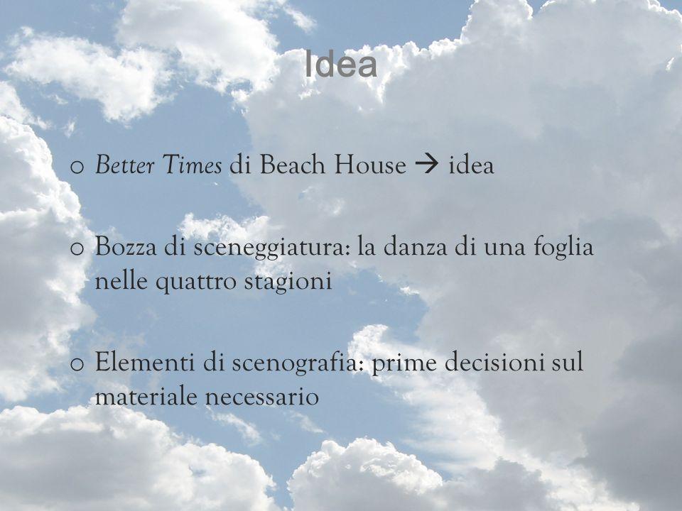Idea o Better Times di Beach House idea o Bozza di sceneggiatura: la danza di una foglia nelle quattro stagioni o Elementi di scenografia: prime decis