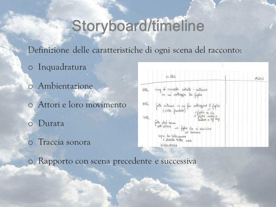 Storyboard/timeline Definizione delle caratteristiche di ogni scena del racconto: o Inquadratura o Ambientazione o Attori e loro movimento o Durata o