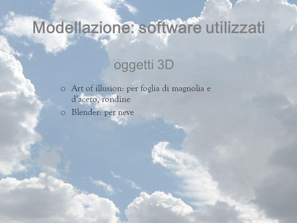 Modellazione: software utilizzati oggetti 3D o Art of illusion: per foglia di magnolia e dacero, rondine o Blender: per neve
