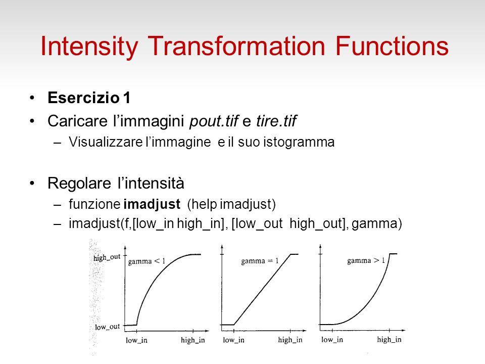 Funzioni per la Trasformazione di Intensità Le elaborazioni nel dominio spaziale possono essere espresse come: g(x,y)= T[f(x,y)] essendo f limmagine di ingresso alla elaborazione, g quella di uscita e T un operatore su f, definito in un intorno di (x,y).