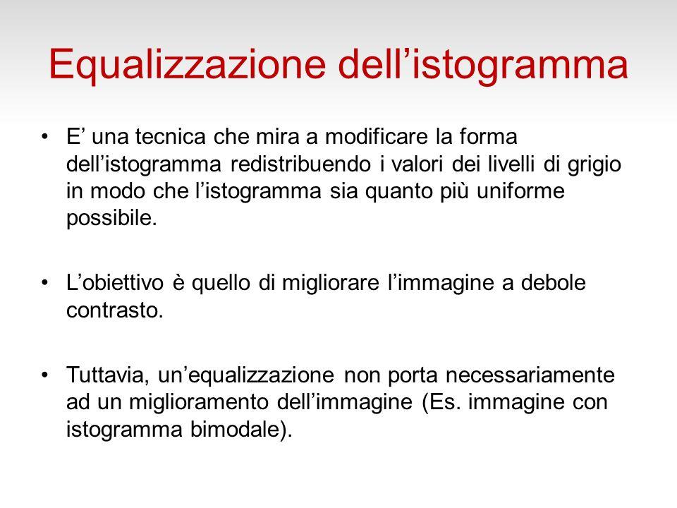 Equalizzazione dellistogramma Loperazione di equalizzazione ha lo scopo di ottenere per listogramma un andamento praticamente costante.