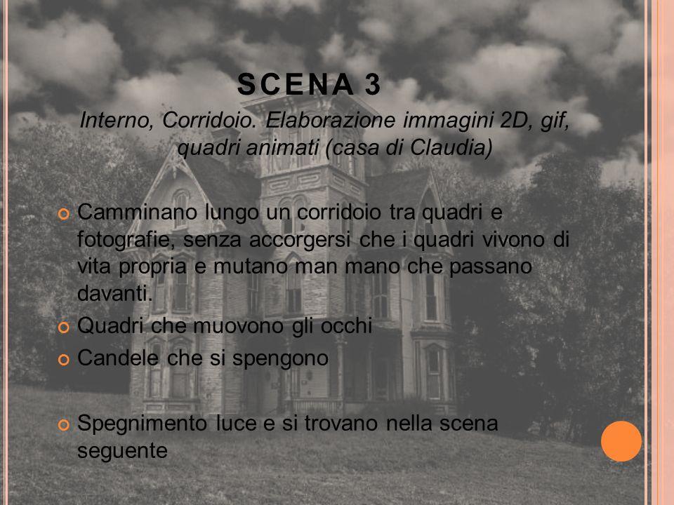 SCENA 3 Interno, Corridoio. Elaborazione immagini 2D, gif, quadri animati (casa di Claudia) Camminano lungo un corridoio tra quadri e fotografie, senz