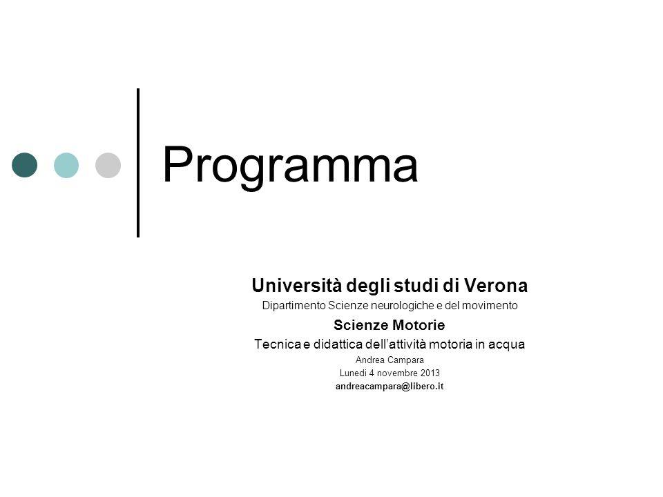 Programma Università degli studi di Verona Dipartimento Scienze neurologiche e del movimento Scienze Motorie Tecnica e didattica dellattività motoria