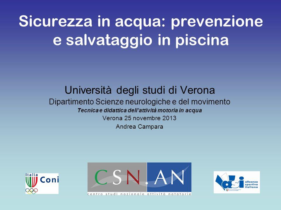 Università degli studi di Verona Dipartimento Scienze neurologiche e del movimento Tecnica e didattica dellattività motoria in acqua Verona 25 novembr
