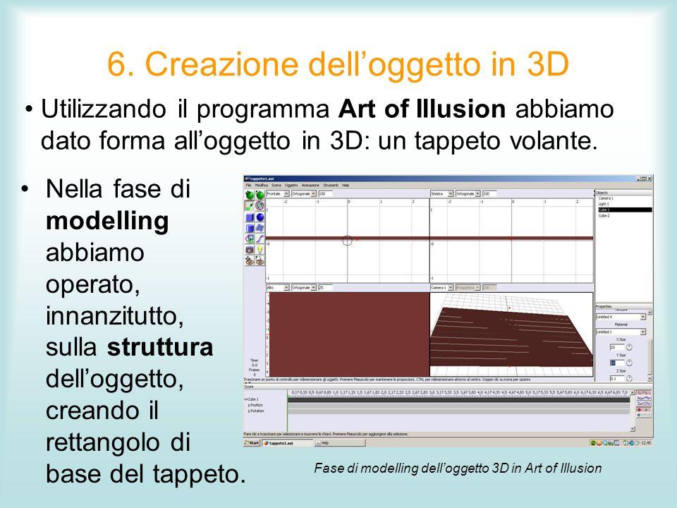 6. Creazione delloggetto in 3D Nella fase di modelling abbiamo operato, innanzitutto, sulla struttura delloggetto, creando il rettangolo di base del t