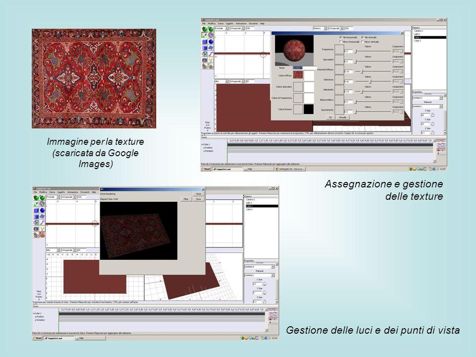 Immagine per la texture (scaricata da Google Images) Assegnazione e gestione delle texture Gestione delle luci e dei punti di vista
