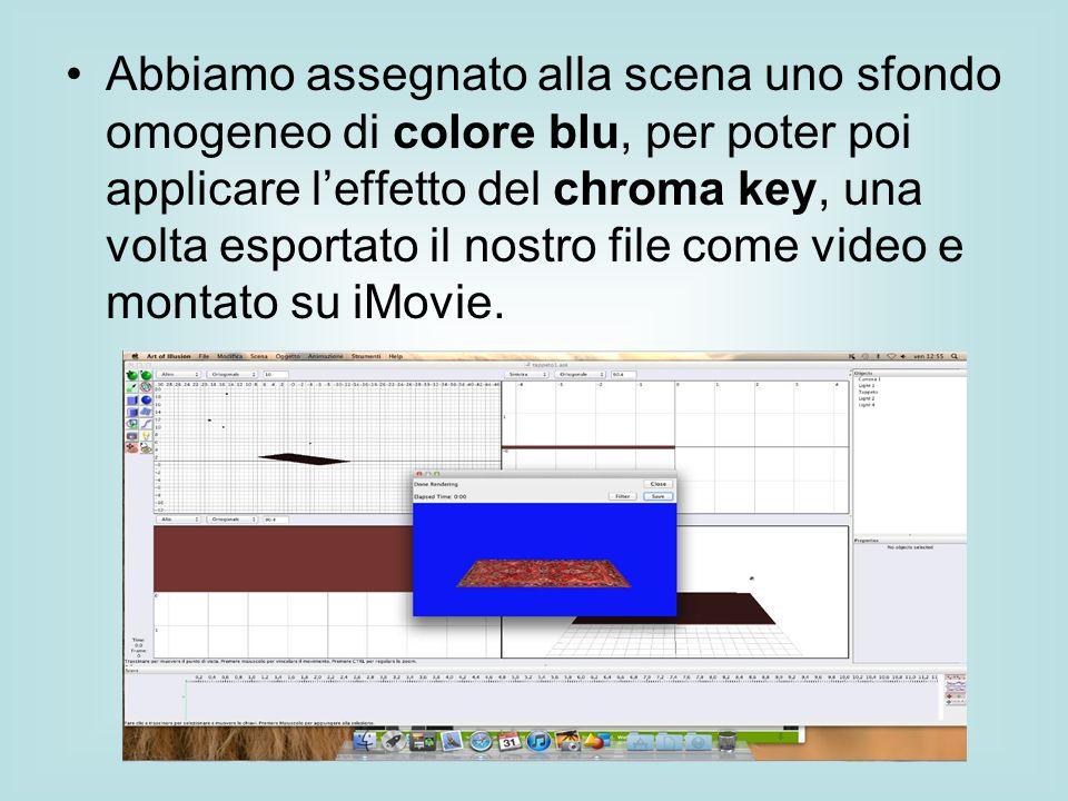 Abbiamo assegnato alla scena uno sfondo omogeneo di colore blu, per poter poi applicare leffetto del chroma key, una volta esportato il nostro file co