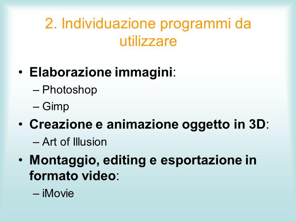2. Individuazione programmi da utilizzare Elaborazione immagini: –Photoshop –Gimp Creazione e animazione oggetto in 3D: –Art of Illusion Montaggio, ed