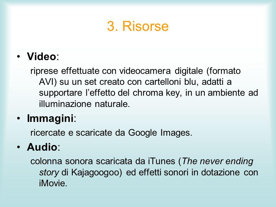 3. Risorse Video: riprese effettuate con videocamera digitale (formato AVI) su un set creato con cartelloni blu, adatti a supportare leffetto del chro