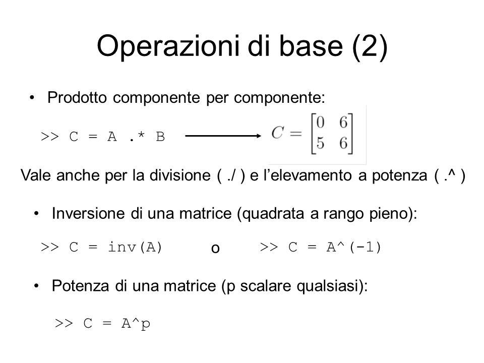 Operazioni di base (2) Prodotto componente per componente: >> C = A.* B Vale anche per la divisione (./ ) e lelevamento a potenza (.^ ) Inversione di
