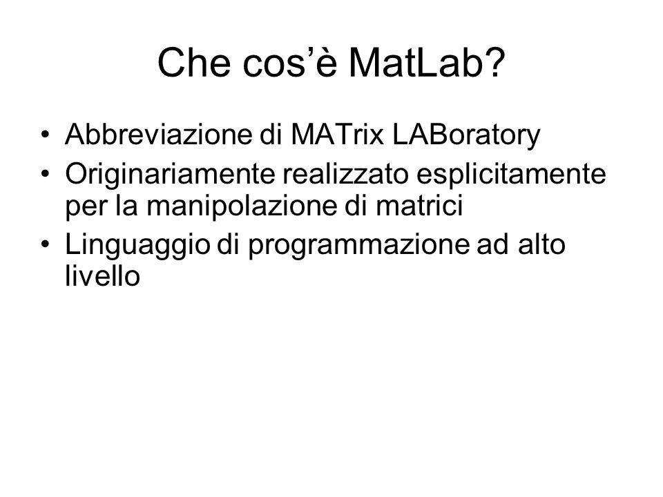 Che cosè MatLab? Abbreviazione di MATrix LABoratory Originariamente realizzato esplicitamente per la manipolazione di matrici Linguaggio di programmaz