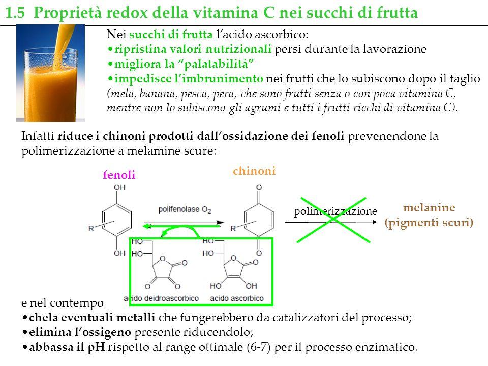 Nei succhi di frutta lacido ascorbico: ripristina valori nutrizionali persi durante la lavorazione migliora la palatabilità impedisce limbrunimento ne