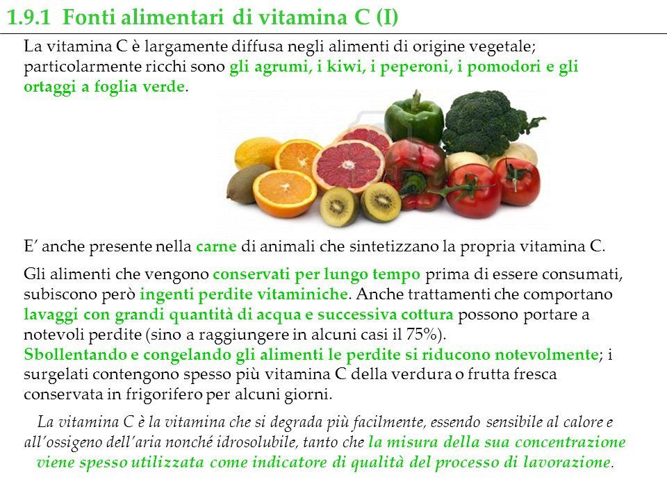 La vitamina C è largamente diffusa negli alimenti di origine vegetale; particolarmente ricchi sono gli agrumi, i kiwi, i peperoni, i pomodori e gli or