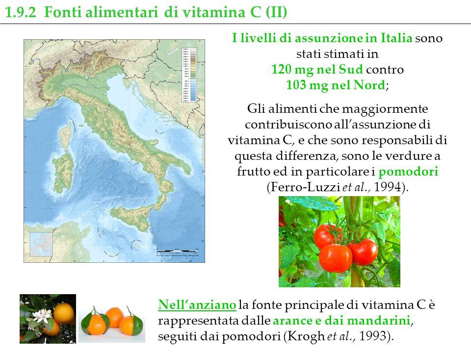 1.9.2 Fonti alimentari di vitamina C (II) I livelli di assunzione in Italia sono stati stimati in 120 mg nel Sud contro 103 mg nel Nord; Gli alimenti