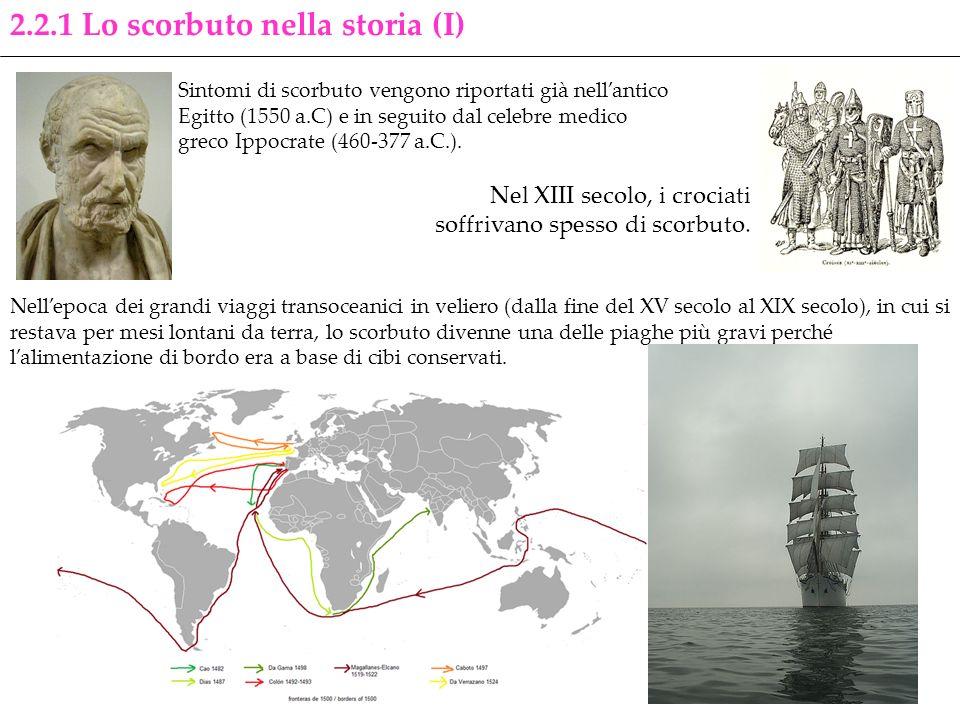 2.2.1 Lo scorbuto nella storia (I) Sintomi di scorbuto vengono riportati già nellantico Egitto (1550 a.C) e in seguito dal celebre medico greco Ippocr