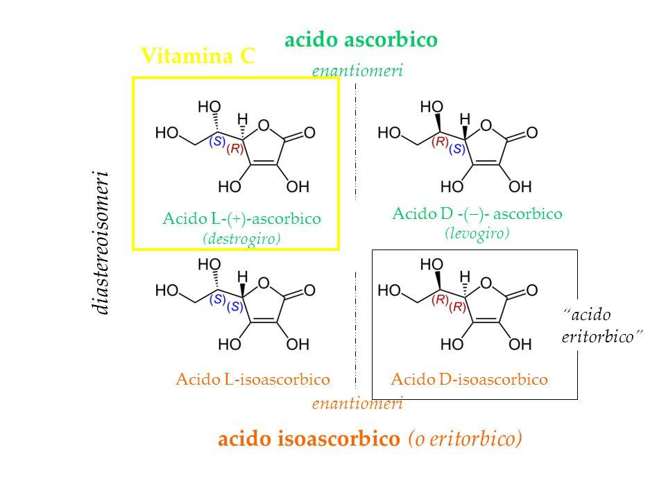 diastereoisomeri acido isoascorbico (o eritorbico) acido ascorbico enantiomeri Acido L-(+)-ascorbico (destrogiro) Acido D -( )- ascorbico (levogiro) A
